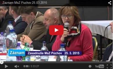 Zasadnutie MsZ dňa 25. marca 2015