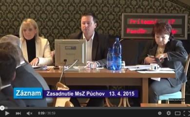 Zasadnutie MsZ dňa 13.apríla 2015