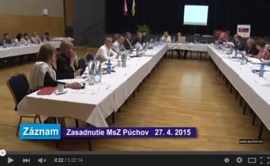Videozáznam PúTV – zasadnutie MsZ  (27.4.2015)