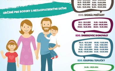 Pobyty pre sociálne slabšie rodiny v štátnych zariadeniach zadarmo