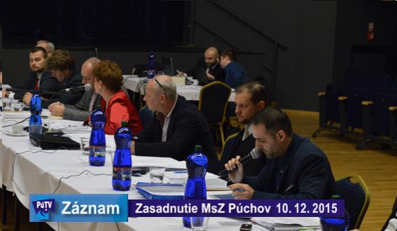 Zasadnutie MsZ dňa 10. decembra 2015